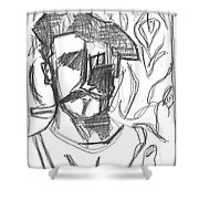 After Billy Childish Pencil Drawing B2-4 Shower Curtain