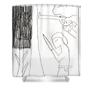 After Mikhail Larionov Pencil Drawing 10 Shower Curtain