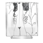 After Mikhail Larionov Pencil Drawing 7 Shower Curtain