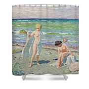 After The Swim  Oil On Canvas Shower Curtain
