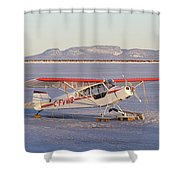 Airplane In The Harbour Shower Curtain