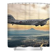 Alaska Airlines Dc-3 Over Seattle Shower Curtain