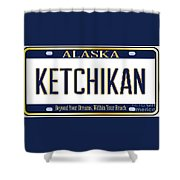 Alaska State License Plate Mockup With The City Ketchikan Shower Curtain