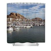 Alicante Marina And The Santa Barbara Castle Shower Curtain