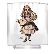 Alice And The Pig Shower Curtain