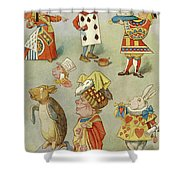 Alice In Wonderland Characters Shower Curtain
