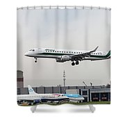 Alitalia Embraer 190 Bird Near Miss Shower Curtain