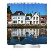 Along The Canal. Flanderenfietsroute.   Shower Curtain