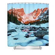 Alpenglow At Dream Lake Rocky Mountain National Park Shower Curtain