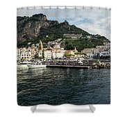 Amalfi Town Seen From Ferry Approaching Shower Curtain