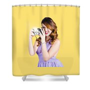 Amateur Photographer Practising With Retro Camera Shower Curtain