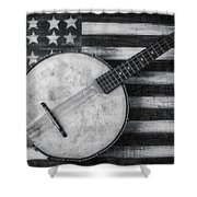 American Banjo Black And White Shower Curtain