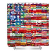 American Flags Of The World Shower Curtain