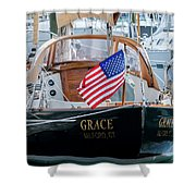 American Pride At The Marina Shower Curtain