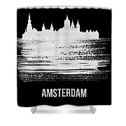 Amsterdam Skyline Brush Stroke White Shower Curtain