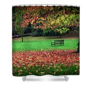 An Autumn Bench At Clyne Gardens Shower Curtain