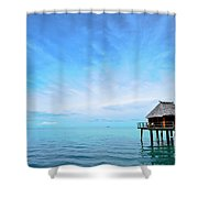 An Exclusive Resort Bungalow Over A Calm Tropical Sea. Shower Curtain