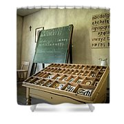 An Old Classroom With Blackboard And Boards With Old Script Shower Curtain