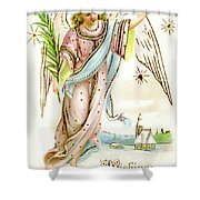 Angel  Carrying A Palm Branch Shower Curtain