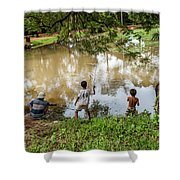 Angkor Fishing Family Shower Curtain