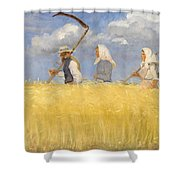 Anna Ancher - Harvesters Shower Curtain