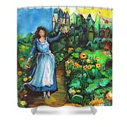 Annabelle And Sunflowers Shower Curtain by Laurie Lundquist