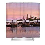 Antique Bridge Of Tavira During Twilight. Portugal Shower Curtain