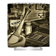 Apothecary-vintage Pill Roller Sepia Shower Curtain