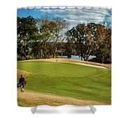 Approaching The 18th Green Shower Curtain