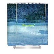 Aqua Agua And Leaf Shower Curtain