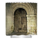 arched door at Fontevraud church Shower Curtain
