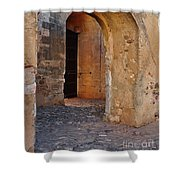 Arches Of A Medieval Castle Entrance In Algarve Shower Curtain