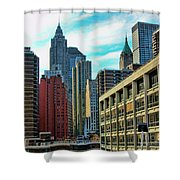 Architecture Nyc From Brooklyn Bridge  Shower Curtain