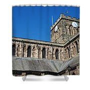 architecture of Hexham cathedral and clock tower Shower Curtain