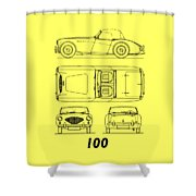 The Austin-healey 100 Shower Curtain