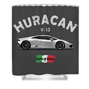 The Lamborghini Huracan Shower Curtain by Mark Rogan