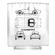 Ac Cobra Blueprint Shower Curtain