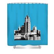 Milwaukee Skyline - 4 - Coral Shower Curtain