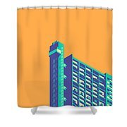 Trellick Tower London Brutalist Architecture - Plain Apricot Shower Curtain