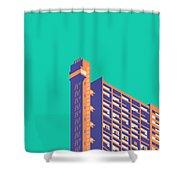 Trellick Tower London Brutalist Architecture - Plain Green Shower Curtain