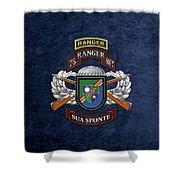 75th Ranger Regiment - Army Rangers Special Edition Over Blue Velvet Shower Curtain
