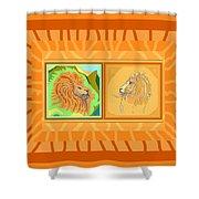 Lion Pair Warm Shower Curtain