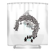 March Of The Penguins Shower Curtain