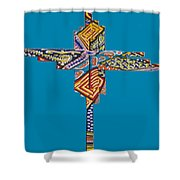 The Abstract Cross Shower Curtain
