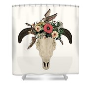 Cow Skull Flowers Shower Curtain