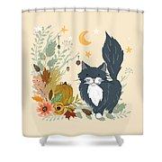 Autumn Garden Moonlit Kitty Cat Shower Curtain