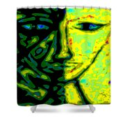 Two Faces - Green - Female Shower Curtain