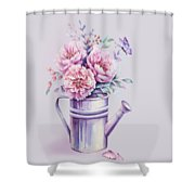 Pink Peonies Blooming Watercolour Shower Curtain