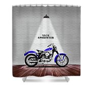 The Sportster Vintage Motorcycle Shower Curtain