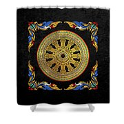 Ancient 12-spoked Gold Dharmachakra - The Wheel Of Dharma Shower Curtain